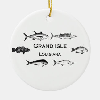 Grand Isle Louisiana Deep Sea Fishing Ceramic Ornament