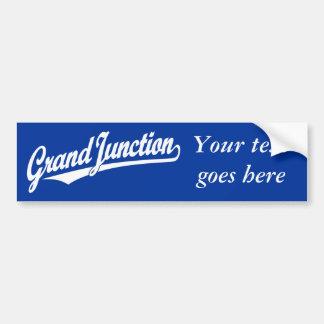 Grand Junction script logo in white Bumper Sticker