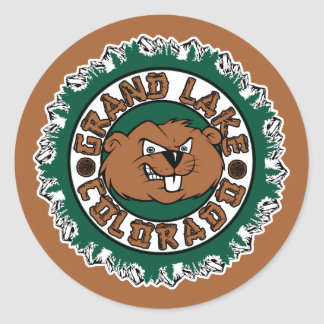 Grand Lake Beaver Circle Round Sticker