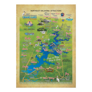 Grand Lake OK attractions map 15r Poster