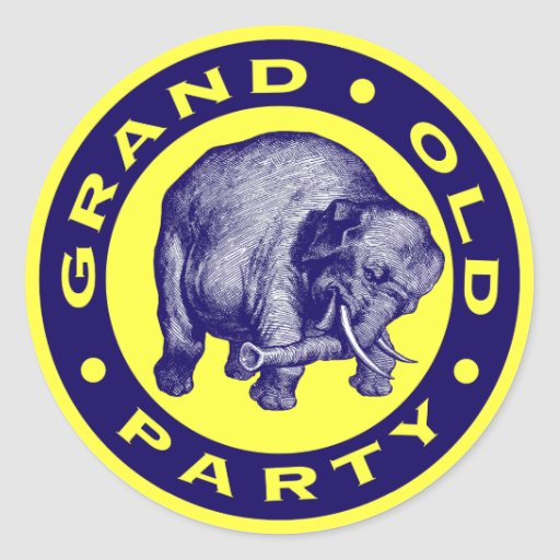 Grand Old Party Round Stickers