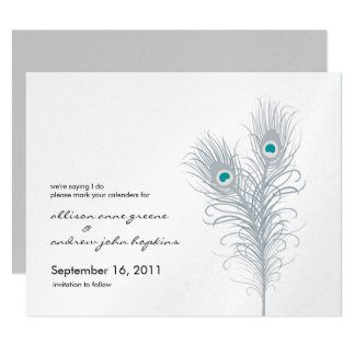 Grand Peacock Metallic Silver/Teal Save the Date 11 Cm X 14 Cm Invitation Card