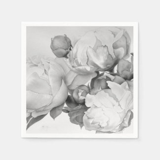 Grand Peony - black and white Paper Napkins