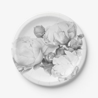 Grand Peony - black and white Paper Plate