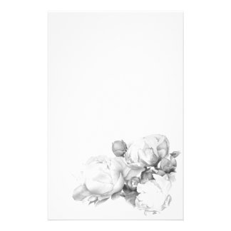 Grand Peony - black and white Stationery