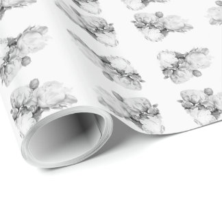 Grand Peony - black and white Wrapping Paper