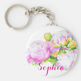 Grand Peony -monogrammed Basic Round Button Key Ring