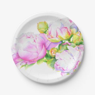 Grand Peony Paper Plate