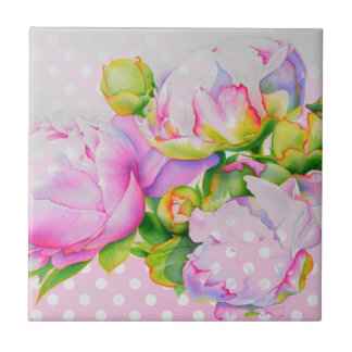 Grand Peony pink and white polka-dots Ceramic Tile