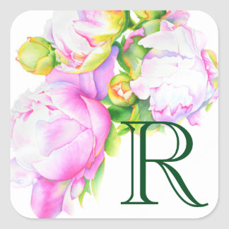 Grand Peony Square Sticker