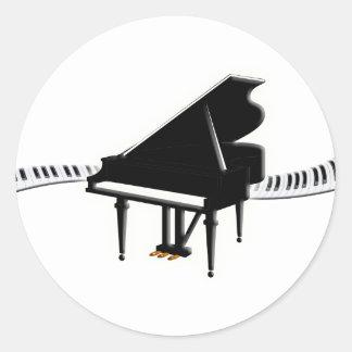 Grand piano and Keyboard Round Sticker