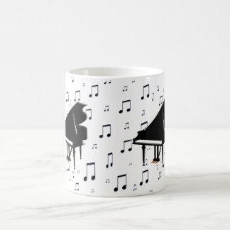 Grand Piano and Music Notes Basic White Mug