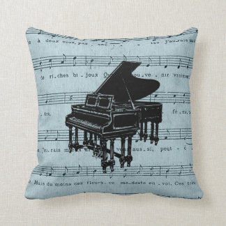 Grand Piano Blue Sheet Music Cushion