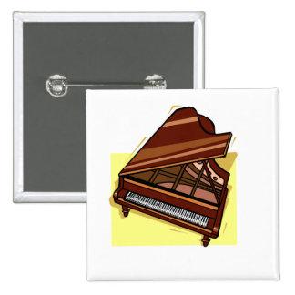 Grand Piano Brown Bird s Eye View Yellow Back Pinback Buttons