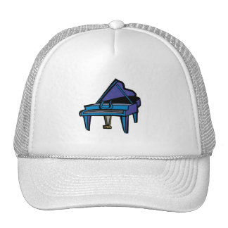 Grand Piano Graphic, Blue Image Trucker Hats