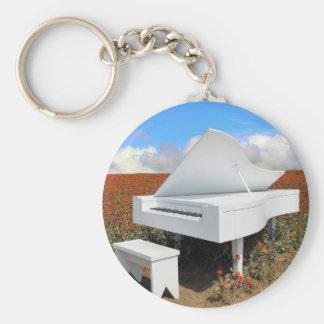 Grand piano in zinnia field key ring