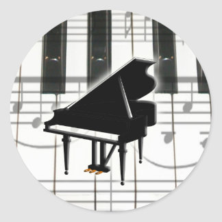 Grand Piano Keyboard & Notes Classic Round Sticker