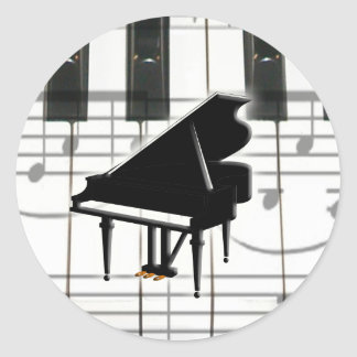Grand Piano Keyboard Notes Round Stickers