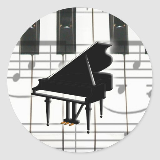 Grand Piano Keyboard & Notes Round Stickers