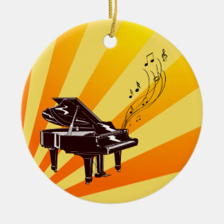 Grand Piano Notes Yellow and Gold Ceramic Ornament