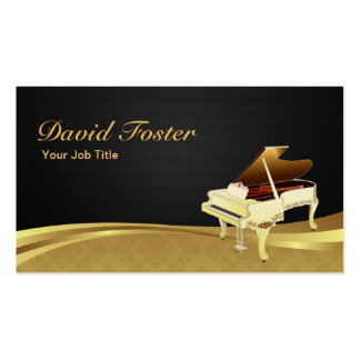 Grand Piano Pianist Elegant Black Gold Damask Pack Of Standard Business Cards