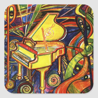 Grand Piano Square Sticker