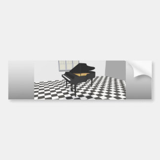 Grand Piano & Tile Floor: 3D Model: Car Bumper Sticker