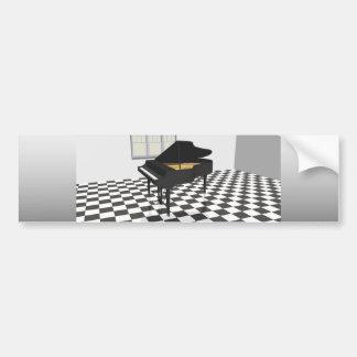 Grand Piano & Tile Floor: 3D Model: Bumper Sticker