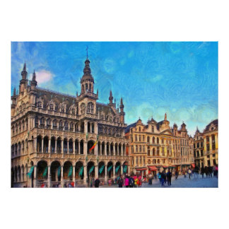 Grand Place with the City Museum of Brussels Poster