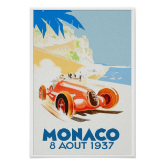 Grand Prix Monaco 1937 aquarelle Print