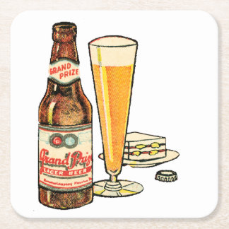 Grand Prize Lager Beer Square Paper Coaster