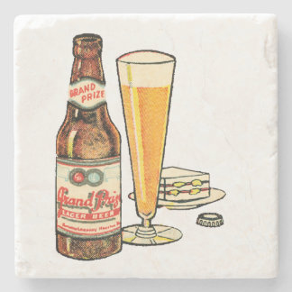 Grand Prize Lager Beer Stone Coaster
