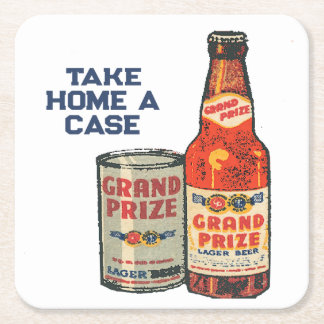 Grand Prize Lager Beer Take Home A Case Square Paper Coaster