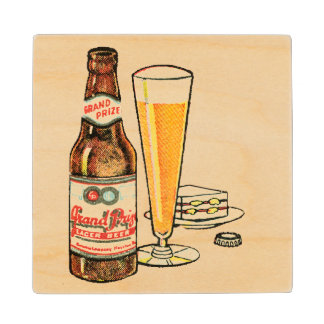 Grand Prize Lager Beer Wood Coaster