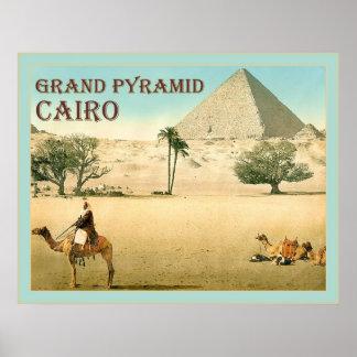 Grand Pyramid ~ Cairo ~ Vintage Travel Poster
