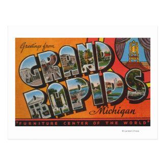 Grand Rapids, Michigan - Large Letter Scenes Postcard
