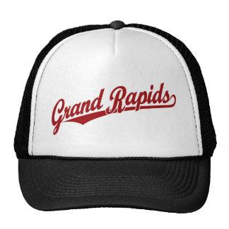 Grand Rapids script logo in red Cap