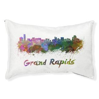 Grand Rapids skyline in watercolor