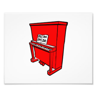 grand red upright piano with music.png photo