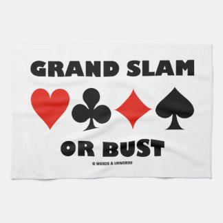 Grand Slam Or Bust (Bridge Card Suits) Tea Towel