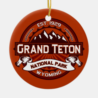 Grand Teton Crimson Ceramic Ornament