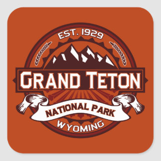 Grand Teton Logo Crimson Square Sticker