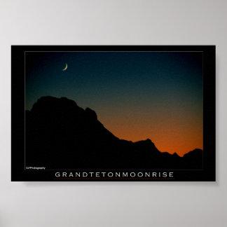Grand Teton Moonrise Poster
