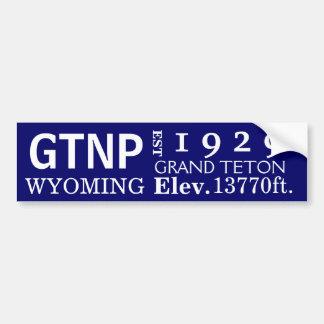 Grand Teton national park stats Car Bumper Sticker