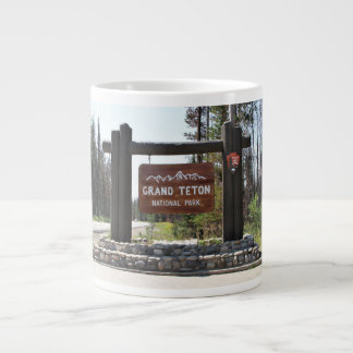 Grand Teton National Park, US National Park, Sign Large Coffee Mug