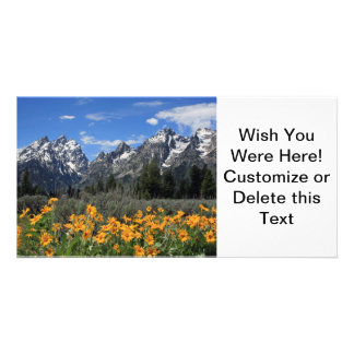 Grand Teton with Yellow Spring Flowers Personalised Photo Card