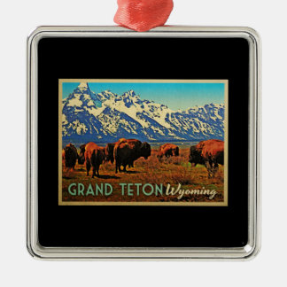 Grand Teton Wyoming Buffalo Metal Ornament