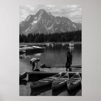 Grand Tetons and Canoes Print