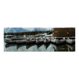Grand Tetons and canoes! Poster