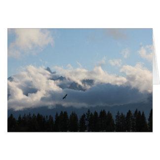 Grand Tetons and hawk Card